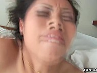 Young Thai is pretty good in bed and white fucker doesn't want to pull cock out of her Asian cunny 5