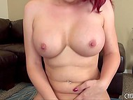 Red-haired babe had gratified shaved pussy with fingers before saddled fucking machine 11