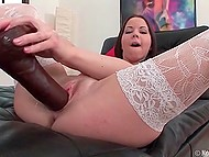 Concupiscent girl took huge black and white adult toys to lift mood being alone 5