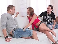 Debauched boy happily watched how his suntanned sweetheart gets fucked by stranger in the Russian video 4