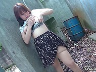 Busty Japanese teen plays with her pussy alone in the territory of abandoned factory 4