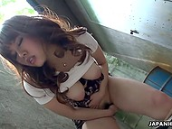 Busty Japanese teen plays with her pussy alone in the territory of abandoned factory 8