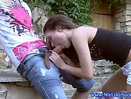Brown-haired teen was very pleased to meet beloved and made up her mind to give him nice blowjob 3