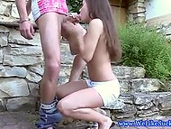 Brown-haired teen was very pleased to meet beloved and made up her mind to give him nice blowjob 4