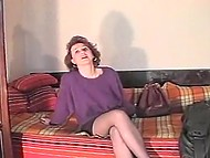 Vintage porn casting featuring whorish Romanian woman getting fucked in front of camera 4