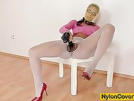Pantyhose lover rope white ones between legs to clear the way for dildo to her sissy 5