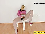 Pantyhose lover rope white ones between legs to clear the way for dildo to her sissy 6