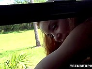 Red-haired girl stuck in a window and dude with camera didn't fail to shove dick from behind 4