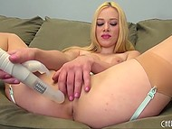 Lady bought a super vibrator at sex shop that day and instantly started to test it shoving into pussy 7