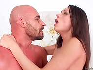 Bald man with beard and lover practiced two sex position only to get maximum pleasure from sex 10