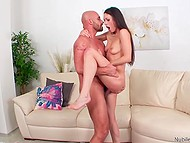 Bald man with beard and lover practiced two sex position only to get maximum pleasure from sex 7