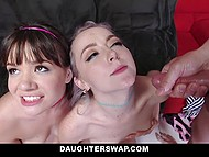 Lovely girls exchanged stepfathers and had a good time serving hard penises on the couch