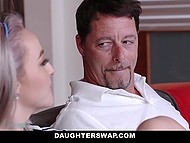 Lovely girls exchanged stepfathers and had a good time serving hard penises on the couch 7