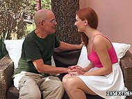 To make old history teacher feel good, young redhead had sex with him on the couch 4
