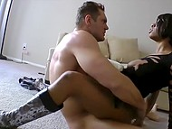 Ejaculator owned dark lassie on the chair and continued hot action on the soft carpet 10