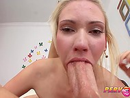Elegant sweet thing with slim body uses deep throat to deal with man's hard boner