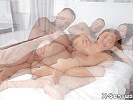 Male gently licked pussy and leisurely thrust penis inside tight asshole of petite babe 8