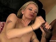 Slutty blonde knows how to wake up her Ebony boyfriend in a very pleasant way 10