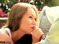 First-class sex in the open air with lovely Angel Blade and her bald buddy 11