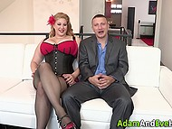 Gorgeous plus-size model is screwed by her insatiable lover on the white sofa 3