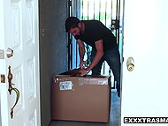 Dude received package but there was a slut who immediately started to suck and ride his cock 4