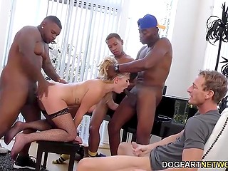 Husband talked wife to entertain his black guests but he was watching that group sex