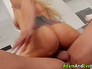 Busty blonde MILF seduces and bounces on FBI agent's cock in order to save her husband from prison 10