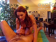 Dude tricks red-haired massage girl into blowjob and she does it for money 7