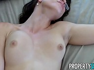 Sexy estate agent with glasses indulges in sex with guy and takes cumshot on pretty face 11
