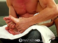 Brutal stallion gave feet massage to hot blonde and took her pussy for fucking in return 4