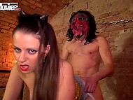 Catgirl gets fucked joyfully by a redneck in a devil mask in the old basement 6