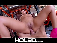Well-rounded Latina in purple shoes fucks in the assholle with hes trainer in the fitness club 11