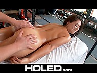 Well-rounded Latina in purple shoes fucks in the assholle with hes trainer in the fitness club 4