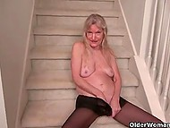 Elderly women in black pantyhose don't forget to pet the kitty from time to time 4