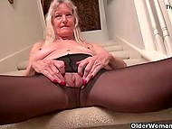Elderly women in black pantyhose don't forget to pet the kitty from time to time