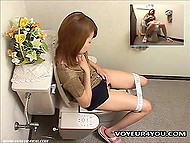 Asian thought nobody to see her masturbating in the toilet but was wrong because hidden camera was set there 3