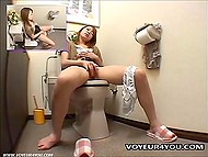 Asian thought nobody to see her masturbating in the toilet but was wrong because hidden camera was set there 8