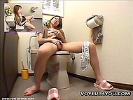 Asian thought nobody to see her masturbating in the toilet but was wrong because hidden camera was set there