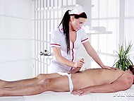 Sensitive masseur from the very beginning noticed how client was happy to see her 4