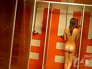 Hidden camera set in shower room captured young girl washing thin body and hairy pussy 9