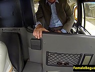 Lustful female taxi driver convinced two passengers to have rough threesome in the British scene 4