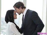 Elegant boss spanked smoking-hot secretary and fucked properly clean-shaven pussyhole 3