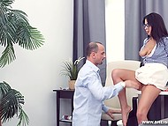 Russian tutor and student with dark hair postponed the lesson and relaxed by anal sex 4