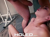 Hairless ejaculator with stylish beard gave delectable damsel an intense anal workout 7