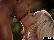 Bored blonde, having sent her husband to a business trip, gets acquainted with monstrous black guy 4