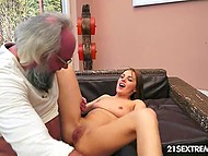 Slender honey got creampied after passionate kissing and foreplay with old bearded man 9