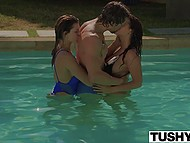 Remarkable girls swam in the pool after sunbathing then took part in group anal sex with handsome French dude 3