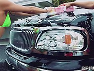 Beauties in erotic swimsuits washed the car before giving man an extra service 4