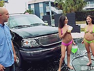 Beauties in erotic swimsuits washed the car before giving man an extra service 6