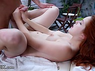 Massage for a red-haired chick very soon transforms into a passionate fucking 11
